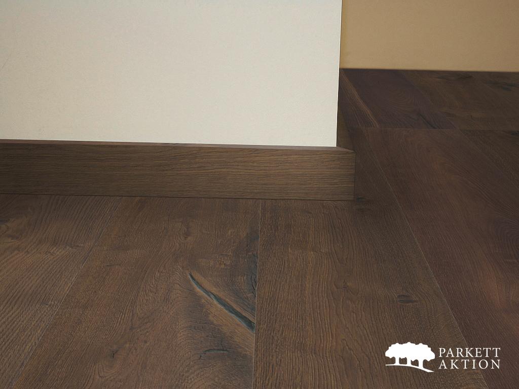 sockelleiste eiche massiv altholzdesign dunkelbraun geb rstet matt lackiert de parkett